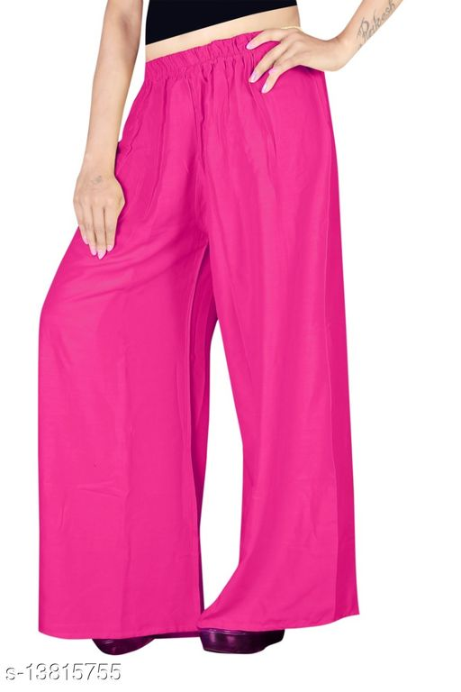 Women's Pink Color Rayon Palazzos.