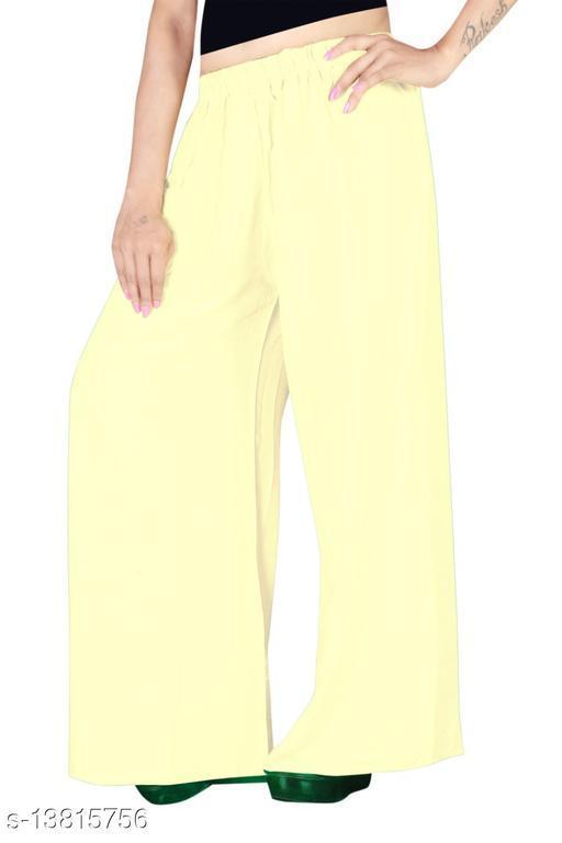 Women's Light Yellow Color Rayon Palazzos.