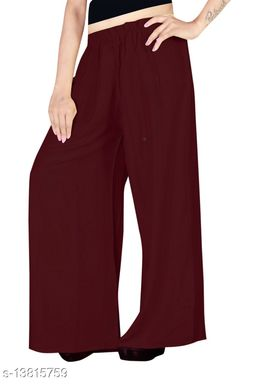 Women's Brown Color Rayon Palazzos.