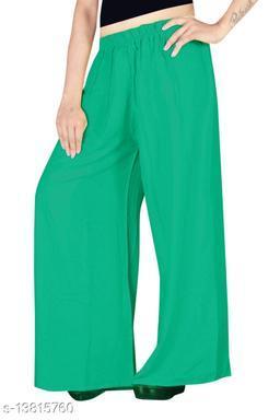 Women's Green Color Rayon Palazzos.