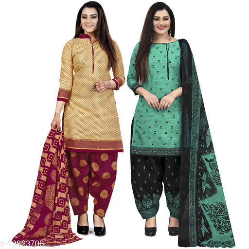 Rajnandini Beige And Green Cotton Printed Unstitched Salwar Suit Material (Combo of 2)