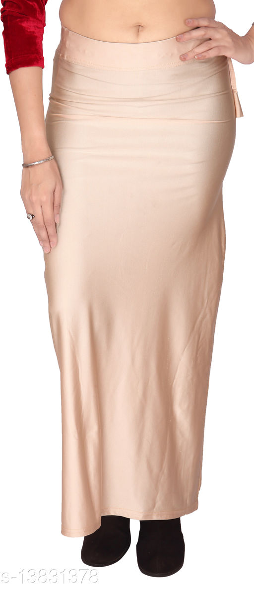 Carrel Women Lycra Fabric Comfort Fit Long Length Plain Shiney Petticoat Shapewear (Light Beige,4XL)
