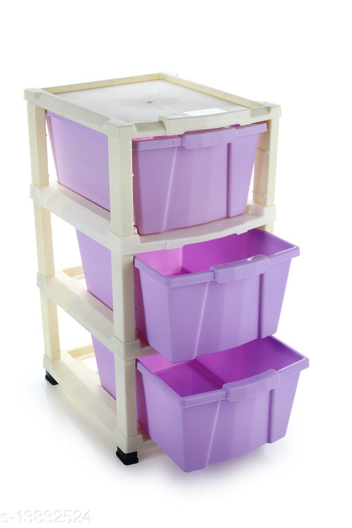 3xl Purple  Plastic Modular Multi-Purpose Drawer Storage System for Home and Office