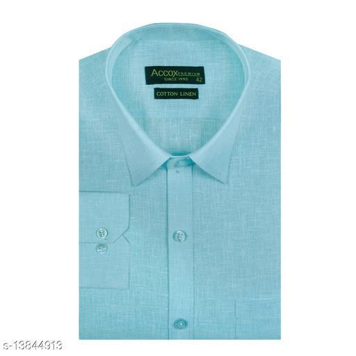 ACCOX Men's Full/Long Sleeves Formal Regular Fit Plain Cotton Linen Shirt