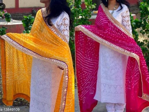 Attractive Rajasthani Art Silk Printed Gota Lace Work Multicolor Party Wear, Daily Wear Dupatta for Women's and Girl's
