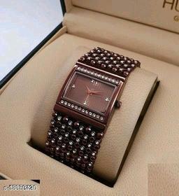 Miss Perfect Rectangle Brown Diamond Cash New Women Watch