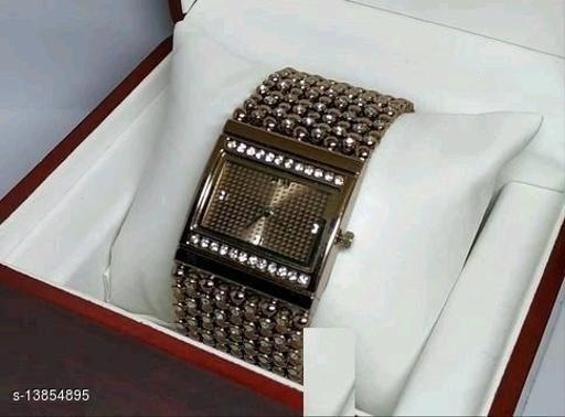 HRV Rectangle Brown Diamond Cash New Women Watch