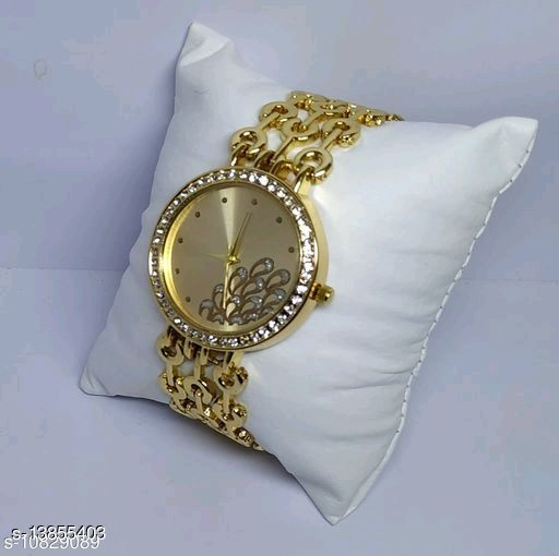 Miss Perfect Women Peacock Dial Chain Gold Watch