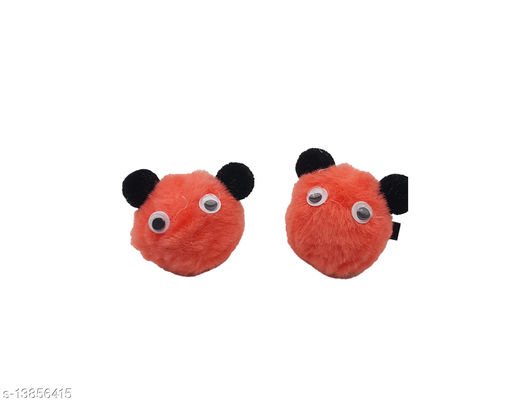 MaBelle Trendy Panda Design Hair Clip/Chimti for Kids/Girls & Women's (Pack of 1 Pair) ,-01 Set/USE: Home ; School ; Gym ; Sports ; Casual/Formal occasions/With a Long Life/Reusable/Unique Design/Lightweight/Strong Grip/Soft & Smooth Premium Quality/Flexible - Peach