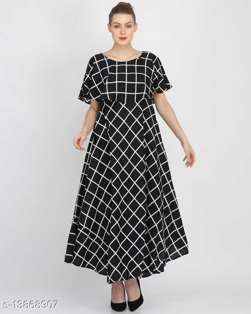 Women's Printed Black PolyCrepe Maxi Dress