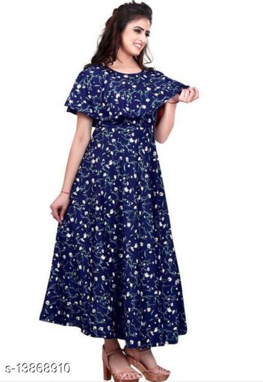 Women's Printed Navy Blue PolyCrepe Maxi Dress