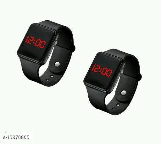 latest trendy pack of 2 black smart watches for age group 7 to 18 years children-kids