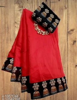 new jumki chanderi cotton silk sari with jumki lace printed blouse