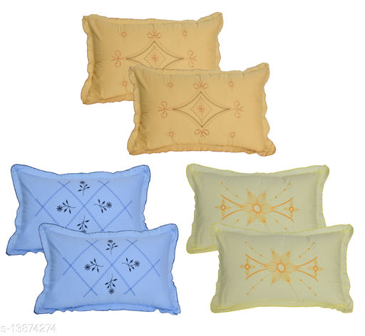 HK Collection Latest Embroidery Pillow Covers (Set of 6 Pieces)