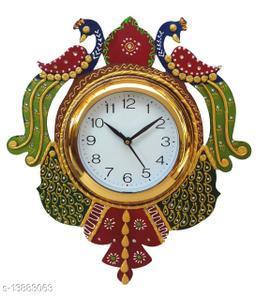 Kangroo Peacock Papier Mache Wall Clock (Multicolor)