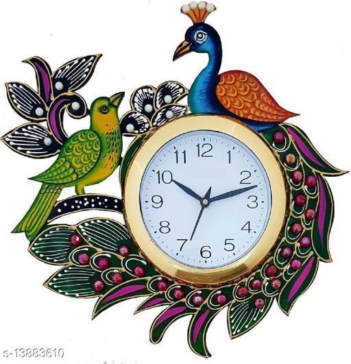 Kangroo Kundan Studded and Meenakari Wooden Peacock Emboss Wall Clock, Multicolour (14 x 14 Inch)