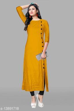 Women Rayon A-line Solid Mustard Kurti