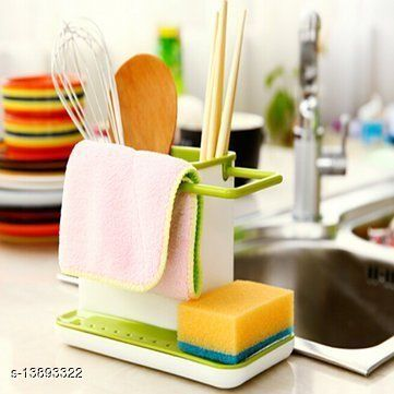 3 in 1 Plastic Sink Caddy Organizer Kitchen Soap/Sponge/Cloth and Brush Holder Accessories ( PC : 1 )