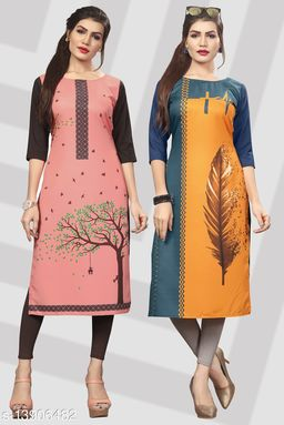 Women's Printed Full-Stitched Crepe Straight Kurti(Combo Pack Of 2)