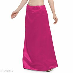 Women's Satin Petticoat - Dark Pink (Free Size Upto 26-36)II Satin Inner side Cotton Stitched Petticoat II Solid Plain In skirt Saree Satin Petticoat II Satin Petticoat for Girls