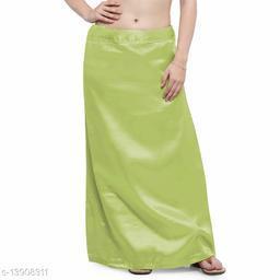 Women's Satin Petticoat - Mehandi Green (Free Size Upto 26-36)II Satin Inner side Cotton Stitched Petticoat II Solid Plain In skirt Saree Satin Petticoat II Satin Petticoat for Girls