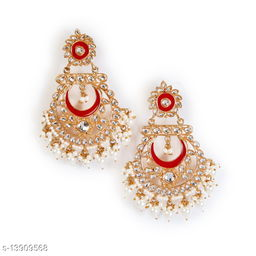 Zullie - Traditional Gold Tone Embellished  Earring With Pearls for women