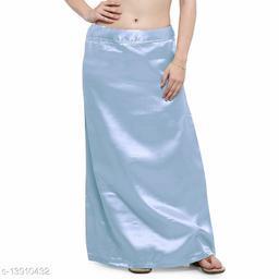 Women's Satin Petticoat - Aqua Blue (Free Size Upto 26-36)II Satin Inner side Cotton Stitched Petticoat II Solid Plain In skirt Saree Satin Petticoat II Satin Petticoat for Girls