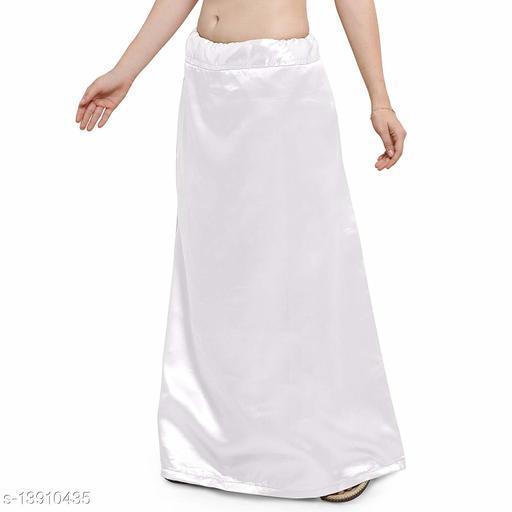 Women's Satin Petticoat - White (Free Size Upto 26-36)II Satin Inner side Cotton Stitched Petticoat II Solid Plain In skirt Saree Satin Petticoat II Satin Petticoat for Girls
