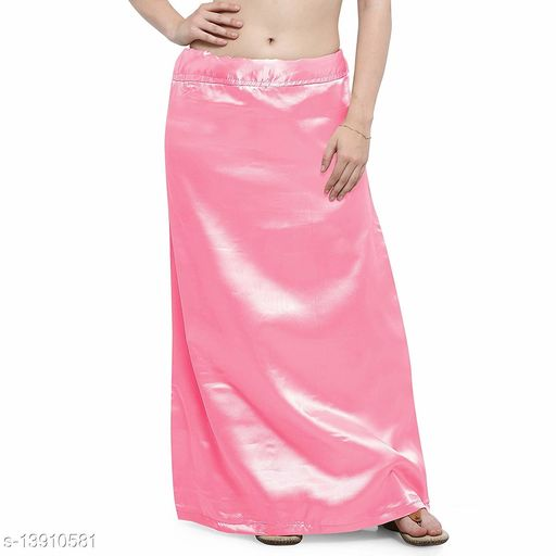 Women's Satin Petticoat - Pink (Free Size Upto 26-36)II Satin Inner side Cotton Stitched Petticoat II Solid Plain In skirt Saree Satin Petticoat II Satin Petticoat for Girls