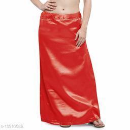 Women's Satin Petticoat - Red (Free Size Upto 26-36)II Satin Inner side Cotton Stitched Petticoat II Solid Plain In skirt Saree Satin Petticoat II Satin Petticoat for Girls