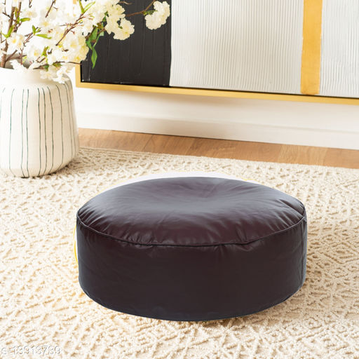 Style Homez Premium Leatherette Large Classic Round Floor Cushion Brown Color, Cover Only