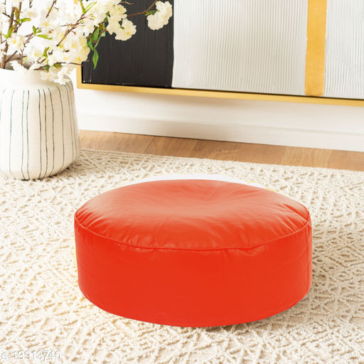 Style Homez Premium Leatherette Large Classic Round Floor Cushion Orange Color, Cover Only