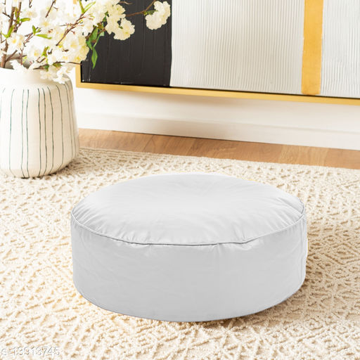 Style Homez Premium Leatherette Large Classic Round Floor Cushion White Color, Cover Only