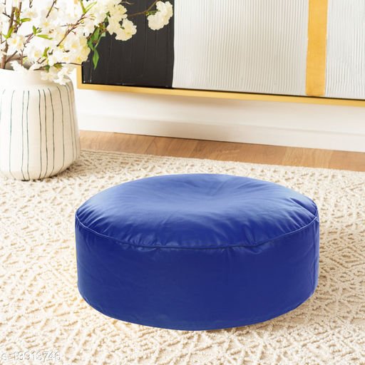 Style Homez Premium Leatherette Large Classic Round Floor Cushion Blue Color, Cover Only