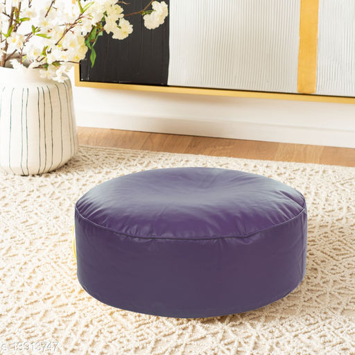 Style Homez Premium Leatherette Large Classic Round Floor Cushion Purple Color, Cover Only