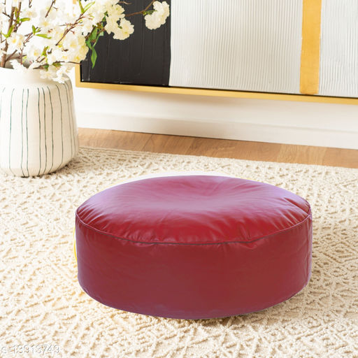 Style Homez Premium Leatherette Large Classic Round Floor Cushion Red Color, Cover Only