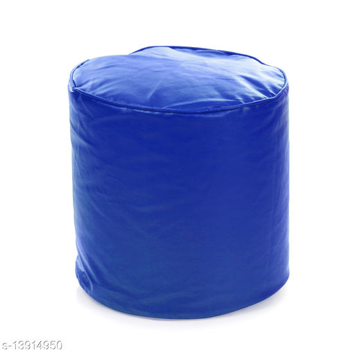 Style Homez Premium Leatherette Round Bean Bag Ottoman Stool L Size Royal Blue Color Cover Only