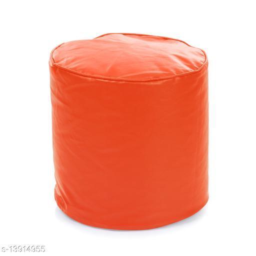 Style Homez Premium Leatherette Round Bean Bag Ottoman Stool L Size Orange Color Cover Only