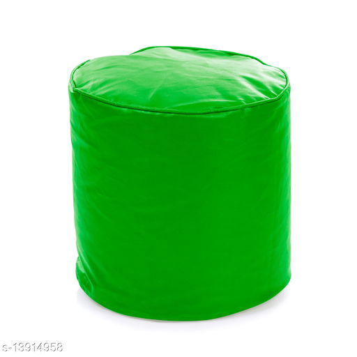 Style Homez Premium Leatherette Round Bean Bag Ottoman Stool L Size Green Color Cover Only