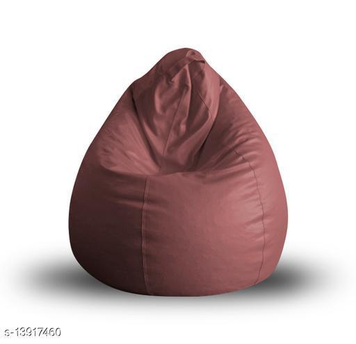 Style Homez Premium Leatherette Classic Bean Bag XL Size Orange Color, Cover Only