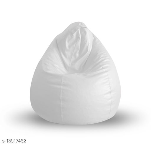 Style Homez Premium Leatherette Classic Bean Bag XL Size White Color, Cover Only