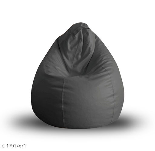 Style Homez Premium Leatherette Classic Bean Bag XL Size Grey Color, Cover Only