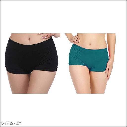 Women Boy Shorts Multicolor Cotton Blend Panty (Pack of 2)