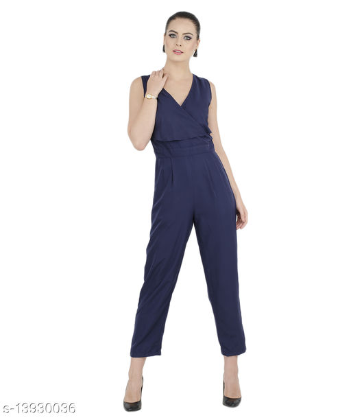 Bahrupiya Clothing Trendy Womens Layered Jumpsuit Blue Elegant Jumpsuit