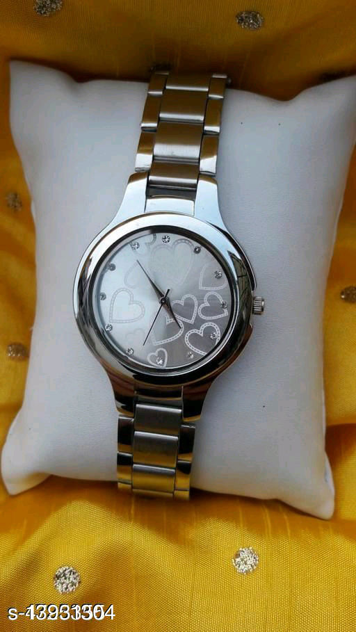 KU Women SS Silver Heart Dial Analog Watch