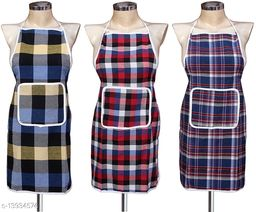 Multicolor Checks Design Cotton Kitchen Apron with Front Utility Pocket (Pack of 3) Color As Per Availability