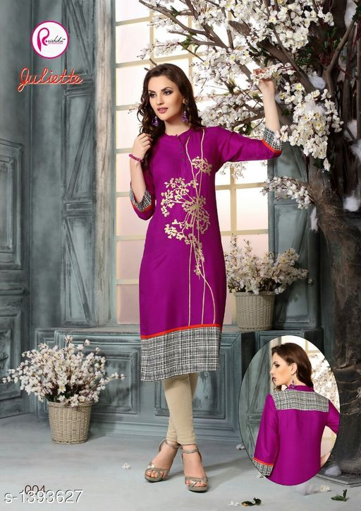 Kurta Sets Intricate Printed Rayon Kurta Sets  *Fabric* Kurti - Rayon, Legging - Rayon  *Sleeves* 3/4 Sleeves Are Included  *Size* Kurti - XXL - 44 in, Legging - XXL - 32  *Length* Kurti - Up to 44 in, Legging - Up To 39 in  *Type* Stitched  *Description* It Has 1 Piece Of Kurti With 1 Piece Of Legging  *Work* Kurti - Printed, Legging - Solid  *Sizes Available* XL, XXL   Supplier Rating: ★4 (62) SKU: 19 Free shipping is available for this item. Pkt. Weight Range: 400  Catalog Name: Aarzoo Intricate Printed Cotton Kurta Sets Vol 2 - Anuradha B Code: 969-1393627--