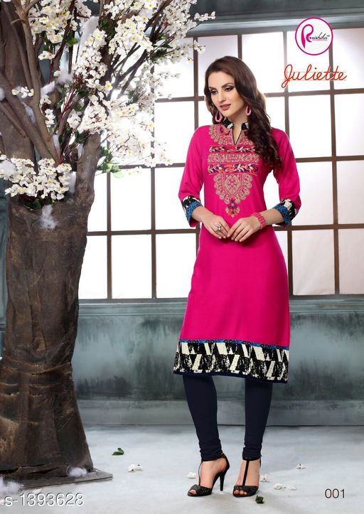 Kurta Sets Intricate Printed Rayon Kurta Sets  *Fabric* Kurti - Rayon, Legging - Rayon  *Sleeves* 3/4 Sleeves Are Included  *Size* Kurti - XXL - 44 in, Legging - XXL - 32  *Length* Kurti - Up to 44 in, Legging - Up To 39 in  *Type* Stitched  *Description* It Has 1 Piece Of Kurti With 1 Piece Of Legging  *Work* Kurti - Printed, Legging - Solid  *Sizes Available* XXL   Supplier Rating: ★4 (62) SKU: 20 Free shipping is available for this item. Pkt. Weight Range: 400  Catalog Name: Aarzoo Intricate Printed Cotton Kurta Sets Vol 2 - Anuradha B Code: 969-1393628--