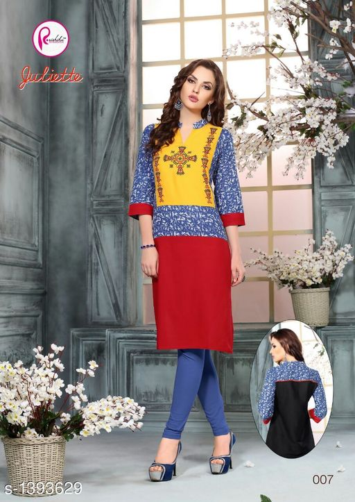 Kurta Sets Intricate Printed Rayon Kurta Sets  *Fabric* Kurti - Rayon, Legging - Rayon  *Sleeves* 3/4 Sleeves Are Included  *Size* Kurti - XXL - 44 in, Legging - XXL - 32  *Length* Kurti - Up to 44 in, Legging - Up To 39 in  *Type* Stitched  *Description* It Has 1 Piece Of Kurti With 1 Piece Of Legging  *Work* Kurti - Printed, Legging - Solid  *Sizes Available* XL, XXL   Supplier Rating: ★4 (62) SKU: 21 Free shipping is available for this item. Pkt. Weight Range: 400  Catalog Name: Aarzoo Intricate Printed Cotton Kurta Sets Vol 2 - Anuradha B Code: 969-1393629--