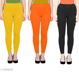 ASA Ankle Length Leggings for Womens/Girls/Ladies (Pack of 3) Sizes-Free Size